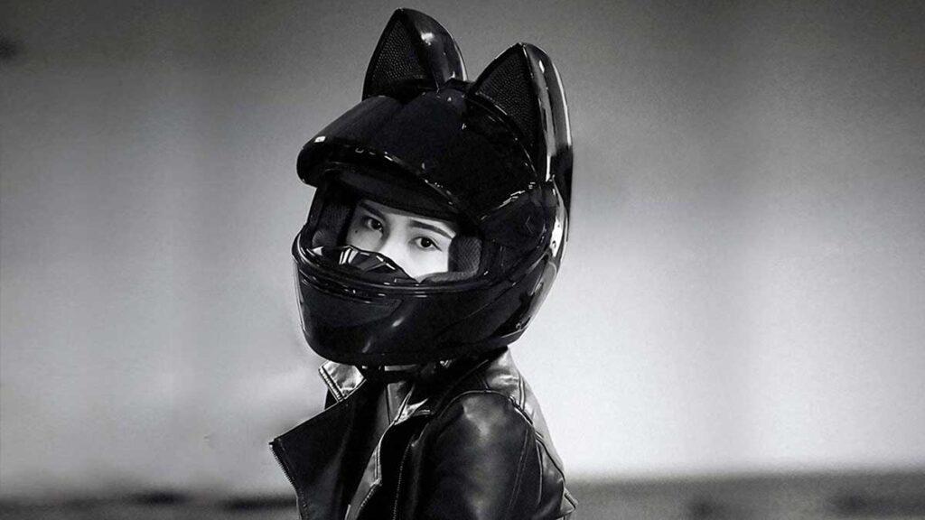 Cascos para moto con orejas de gato