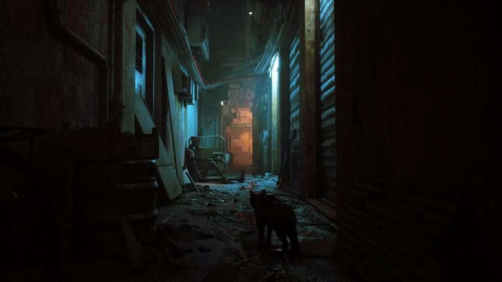 Stray, gato en un callejón