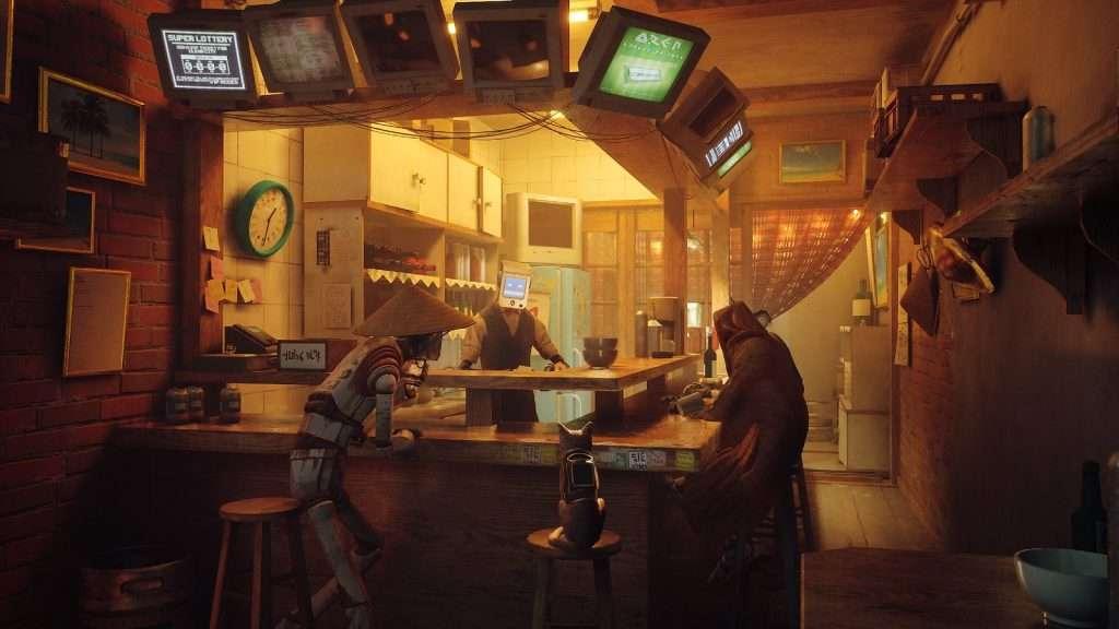 Stray, gato sentado en una cafetería de robots