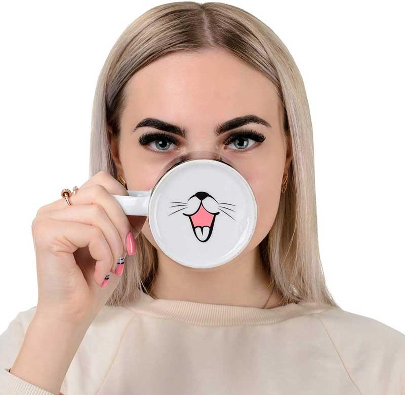 Taza de gato divertido